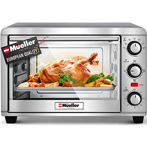 Mueller AeroHeat Convection Air Fryer Toaster Oven, 8 Slice, Broil, Toast, Bake, Stainless Steel Finish, Timer, Auto-Off - Sound Alert, 3 Rack Position, Removable Crumb Tray, Accessories and Recipes