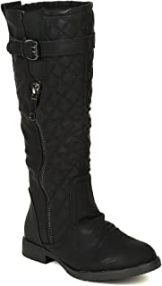 Women Leatherette Quilted Strap Calf High Riding Boot BD74 - Black