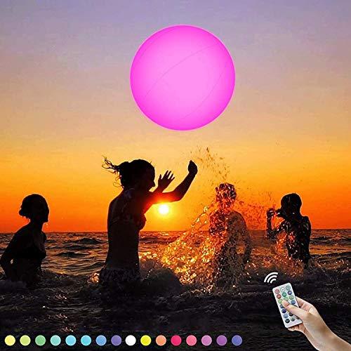 Outskirts Bola de playa inflable con luz LED con mando a distancia, 16 colores de luz con 4 modos de luz, para fiestas de Halloween, piscina, playa, fiestas