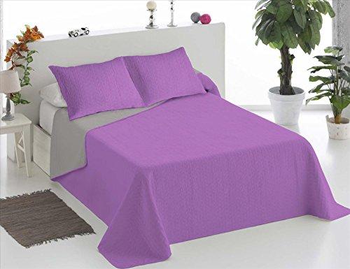 ForenTex - Colcha Boutí, (Q-LG), reversible, Bicolor Lila Gris, Termo Estampada, barata, colcha con relleno ligero. (cama 150 cm (250 x 260 cm))