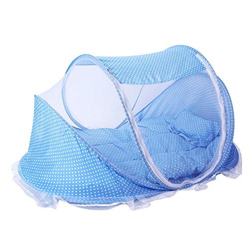 ThreeH Plegable bebé cuna tienda de peso ligero Mosquitera emergente cama de viaje BX03,Blue