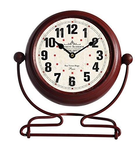 Bhp staande klok, ijzer antiek rood, achterkant plastic excl. 1 x AA 1,5 V, glazen voorkant, sc