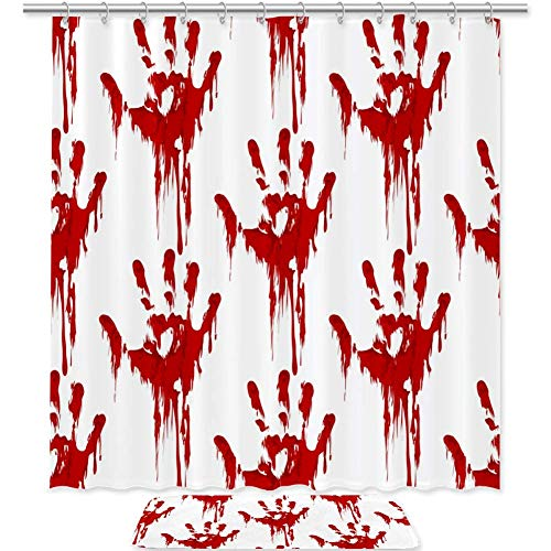 Halloween Horror Bloody Hand Print Shower Curtain and Mat Set, Bathroom Fabric Curtains Waterproof Colorful Funny with…