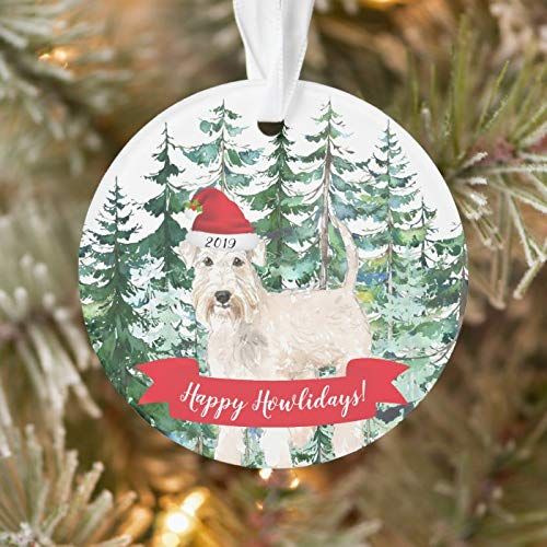 Personalized Happy Howlidays Wheaten Terrier Dog Christmas Ornament 3 Ihch Ceramic Ornament