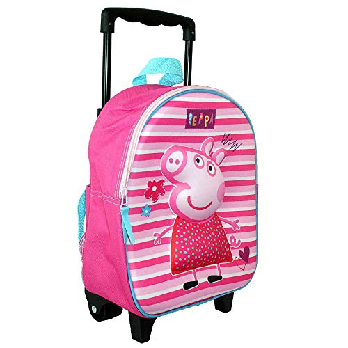 Peppa Pig Trolley Mochila | Óptica 3D | 32 x 26 x 10 cm Niños Bolsa de Viaje
