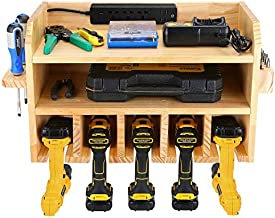 Power Tool Storage, Power Tools Organizer, Cordless Drill Charging Station Wall Mount Five Drill Holder with Screwdriver Rack and Drill Bit Rack Garage Storage Tool Organizer