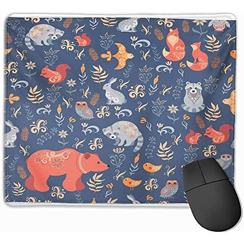 Gaming Mouse Pad, Mouse Mat Kids Fairy Tale Forest Fox Bear Raccoon Owls Rabbits Flowers and Herbs on Blue Baby