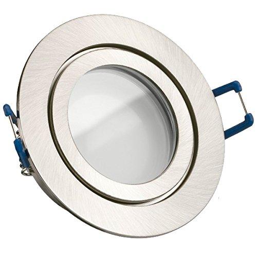 IP44 LED Einbaustrahler Set Silber gebürstet mit LED GU10 Markenstrahler von LEDANDO - 5W - warmweiss - 120° Abstrahlwinkel - Feuchtraum / Badezimmer - 35W Ersatz - A+ - LED Spot 5 Watt - Einbauleuchte rund
