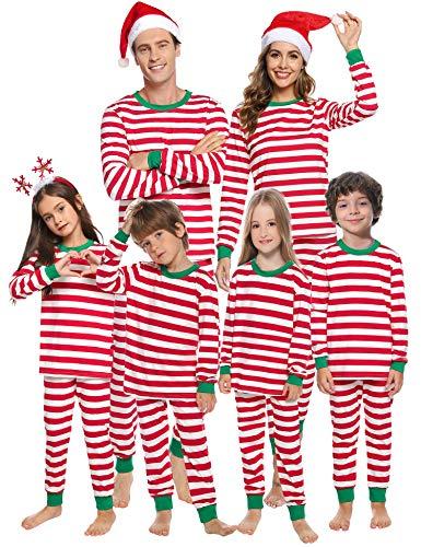 Aibrou Kinder Weihnachten gestreift Schlafanzug lang Rundhals Xmas Pullover Pyjama Set, Langarm Shirt und Pyjamahose Rot XL