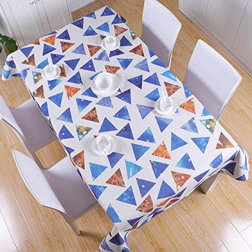 Dthlay tafelkleed, tuintafel, creatief tafelkleed, blauw geometrisch driehoekig tafelkleed