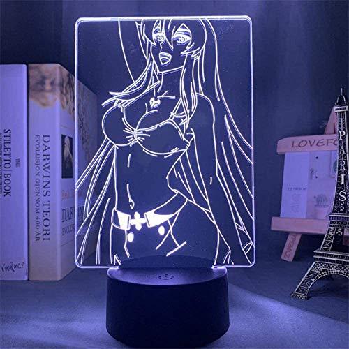Lámpara de anime 3D Led Akame Ga Kill Esdeath para la decoración de la habitación de la luz nocturna del niño niño regalo de cumpleaños Akame Ga Kill Esdese Light-16 colores con control remoto