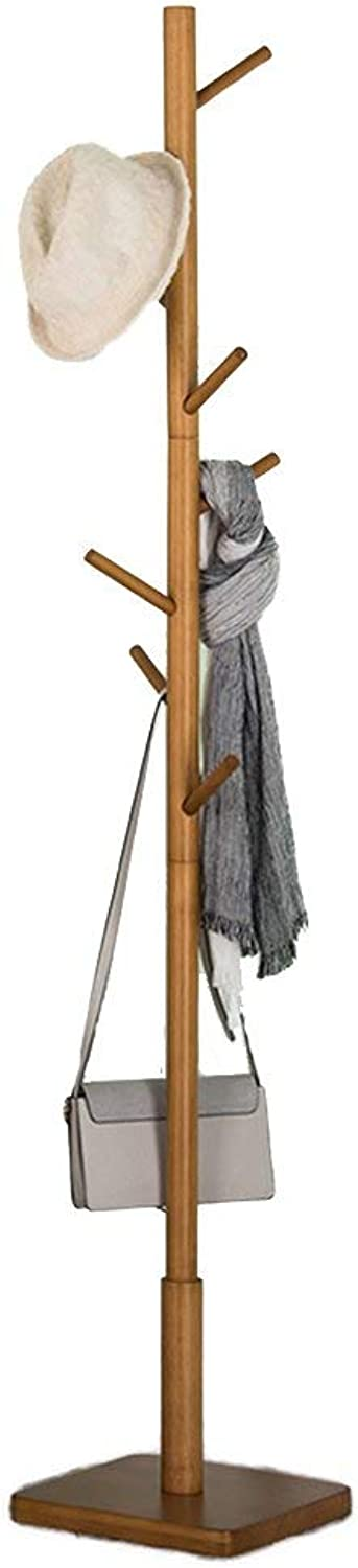 GJD Coatrack Floor Cap and Jacket 8 Hook Tree Square Base with Anti-Slip mat Hatstand (color   Wood color)