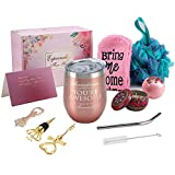 Wine Gifts for Women, Funny Birthday Gift, Wine Gift Basket, Wine Tumbler with Saying for Friend Coworker - 12oz Wine Tumbler with Lid, Straw, Wine Opener/Stopper, Bath Bomb, Loofah, Greeting Card