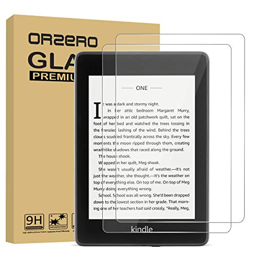 (2 Pack) Orzero Only For All New Kindle Paperwhite 10th Generation 2018 Tempered Glass Screen Protector, 9 Hardness HD Anti-Scratch Anti-Glare Bubble-Free Full-Coverage (2.5D Arc Edges) Clear Shield with Easy Installation (Lifetime Replacement)