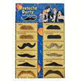 One Card of 12 Assorted Fake Stick on Mustaches