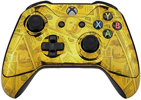 eXtremeRate Chrome Gold 100 Cash Money Dollar Front Housing Shell Case Glossy Patterned Faceplate product image