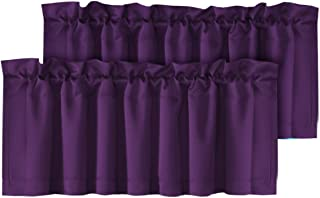 H.VERSAILTEX Thermal Insulated Kitchen Curtain Valances Rod Pocket Solid Window Drapes for Living Room, 2 Pack, 52