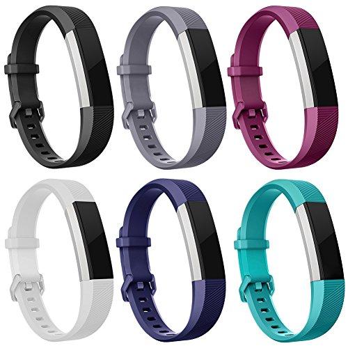 Minfex Fitbit Alta HR Armband, Alta Armbänder Weiches Verstellbares Sport Ersatzarmband Fitness Zubehör mit Metallschließe für Fitbit Alta/Alta HR Damen Herren 6 pcs L