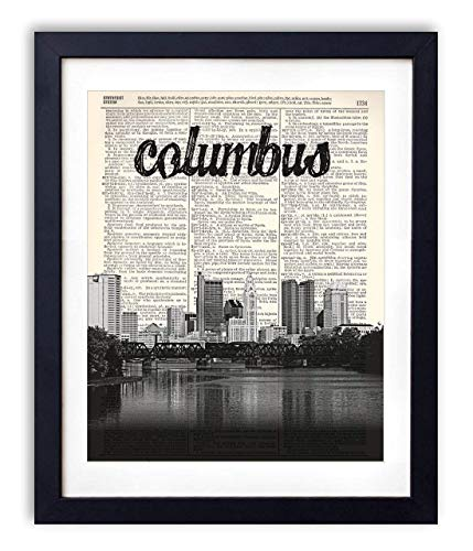 Columbus Skyline With Name Vertical Dictionary Art Print 8x10