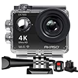 AKASO Waterproof 4k WiFi Action Cam 30fps Sport Camera, Ultra HD Camcorder, LCD Screen, 170 ° Wide Angle, 2 Rechargeable Batteries 1050mAh, 2.4GO Remote Control, 19 Accessory Kits - Black