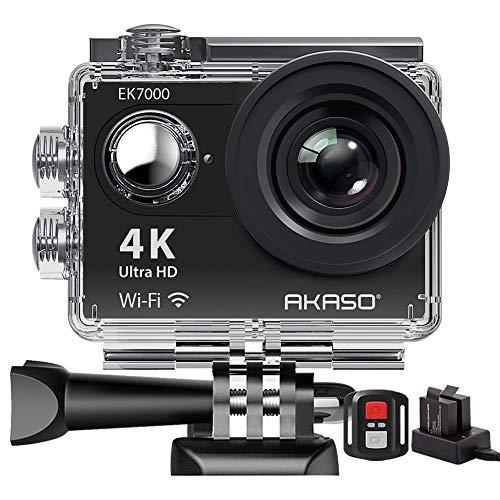 Action Cam,AKASO 4K WiFi Action Kamera/Unterwasserkamera 170°Ultra Weitwinkel Full HD Sports Kamera mit 12MP 2 Zoll LCD Bildschirm 2.4G Fernbedienung EK7000
