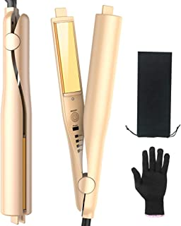 Twist Straightening Curling Iron 2 in 1 Hair Straightener and Curler Professional Flat Iron Hair Styling Tools with Salon High Heat 450? Dual Voltage 3D Concave and Convex Titanium Plated 1 Inch