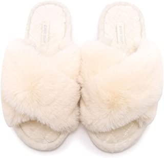 HUMIWA Women's Cross Band Slippers Soft Open Toe Furry Cozy Fur House Slippers Memory Foam Sandals Slides Soft Anti-Slip on Home Slippers for Girls Men Indoor Outdoor
