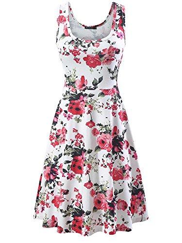 FENSACE Sundress Sleeveless Scoop Neck Summer Midi Party Dress Beach Dresses for Women