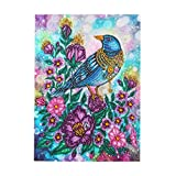 Mousmile 5D Fantastic Birds Diamond Painting Set for Adults Kids,Full Drill Embroidery Drawing Jewel Cross Stitch Picture Pixel Art Craft Kit,DIY Crystal Painting for Household Wall Decor (Swallow)