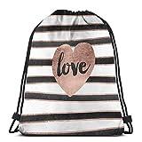 Yuanmeiju Modern Love Typography Rose Gold Hearts Stripes Shoulder Bolsa con cordón Backpack String Bags School Rucksack Gym Sport Bag Lightweight