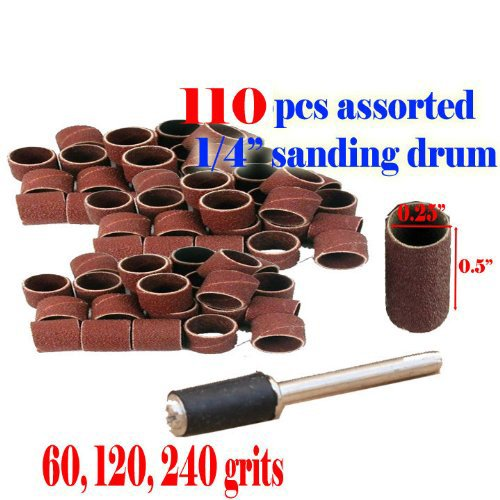 """110 + 1 Pc Assorted Rotary Tool Sanding Drum 1/4"""" X 1/2"""" 60 , 120 , 240 Grits Rotary Tool Suit for Dremel 430 431 438 3000 4000 8220-2/28 395 7700-1/15 4000 3/34 Chicago Electric, Milwaukeen Nextec 1/8"""" Shank Hobby Clean Polish Fit Dremel 407 408"""