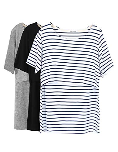 Smallshow 3 Pcs Maternity Nursing T-Shirt Nursing Tops White Stripe-Black-Grey Small