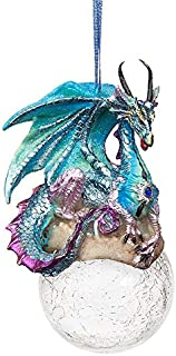 Design Toscano Christmas Tree Ornaments - Frost The Gothic Dragon Holiday Ornament - Snowflake Dragon Ball Ornament