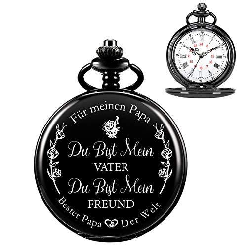 ManChDa Reloj De Bolsillo De Cuarzo Grabado Personalizado De para Regalo De Papá, Relojes De Bolsillo Vintage con Cadena para Hombres, Regalo del Día del Padre, Bonitos Regalos para Tu Papá (Plata)