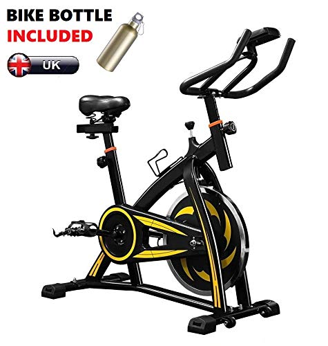 Super Fit Exercise Spin Bike with Belt Driven Flywheel, Quiet & Smooth,...