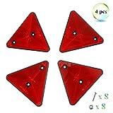 Eacal 4 x Triángulo Reflectante Remolque Rojo Reflectores Triángulo Catadioptrico Reflectores...