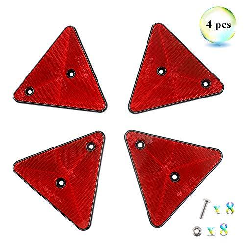 Eacalyc 4 x Triángulo Reflectante Remolque Rojo Reflectores Triángulo Catadioptrico Reflectores Traseros Atornillados, Triángulo Reflectante para Remolque Bicicleta Camión o Máquinas Agrícolas