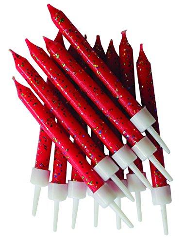 Anniversary House-Lot de 12 bougies rouges pailletées avec support, 7,6 cm, AHC152