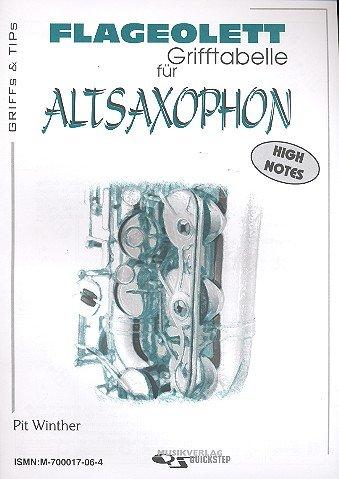 Flageolett-Grifftabelle: für Altsaxophon (spezielle Griffe