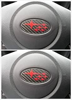 Armertek SB-57CB 2 Pcs Carbon Fiber WRX/STI/Crosstrek/Forester/BRZ/Impreza Steering Wheel Emblem Overlay Decal 2005-2018
