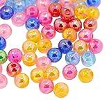 Pandahall-Mixta Ronda transparente abalorios de acrilico del espaciador de AB color los granos de la mezcla, colores surtidos, unos 5 mm de diametro, agujero: 1.5mm