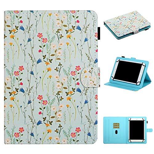 SHISHUFEN Funda de piel con tapa para tablet de 10 pulgadas, universal, diseño de flores, con ranuras para tarjetas y soporte