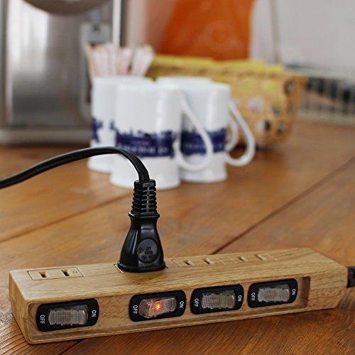 『Fargo 木目調の極みを求めて設計し、節電管理を可能にしたインテリア 電源タップ スイッチ付 雷ガード 雷サージ 4個口 インテリア 延長コード 延長ケーブル 電気コード マルチタップ プラグ 1.5m』の1枚目の画像