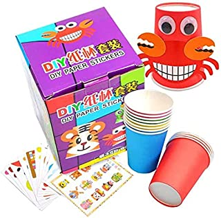 Crafts Paper Cups Art Kit Kids Crafts Art Toys DIY Crafts Toys for Kids Children 12 pcs Paper Cup and 12 pcs Stickers, lea...