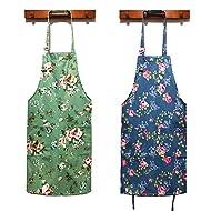 Women Kitchen Apron-2 Pack, Cotton Canvas Flower Apron, Floral Pattern Apron with Pockets for Women Chef Apron(Green&Blue)., Medium