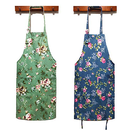 HOMKIN Women Kitchen Apron-2 Pack, Cotton Canvas Flower Apron, Floral Pattern Apron with Pockets for Women Chef Apron(Green&Blue)., Medium