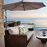 Giantex 10ft Offset Hanging Patio Umbrella, Outdoor Market Umbrellas w/Crank Lift & Cross Base, Easy Adjustment, Polyester Shade, Cantilever Umbrella for Backyard, Poolside, Lawn and Garden