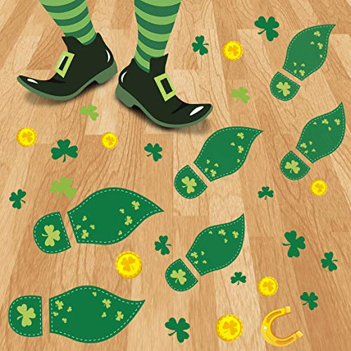 270PCS St Patrick#039s Day Decorations Leprechaun Footprints Floor Clings Shamrock Gold Coin Party Decorations Decals Stickers