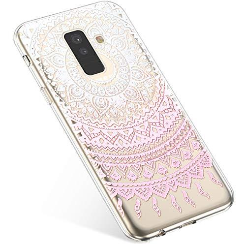 Uposao Compatibile con Samsung Galaxy A6 Plus 2018 Custodia Ultra Sottile Morbido Trasparente TPU Sottile e Leggero Funzionale Eccellente Custodia Protettiva Cover per Samsung Galaxy A6 Plus,Datura 3