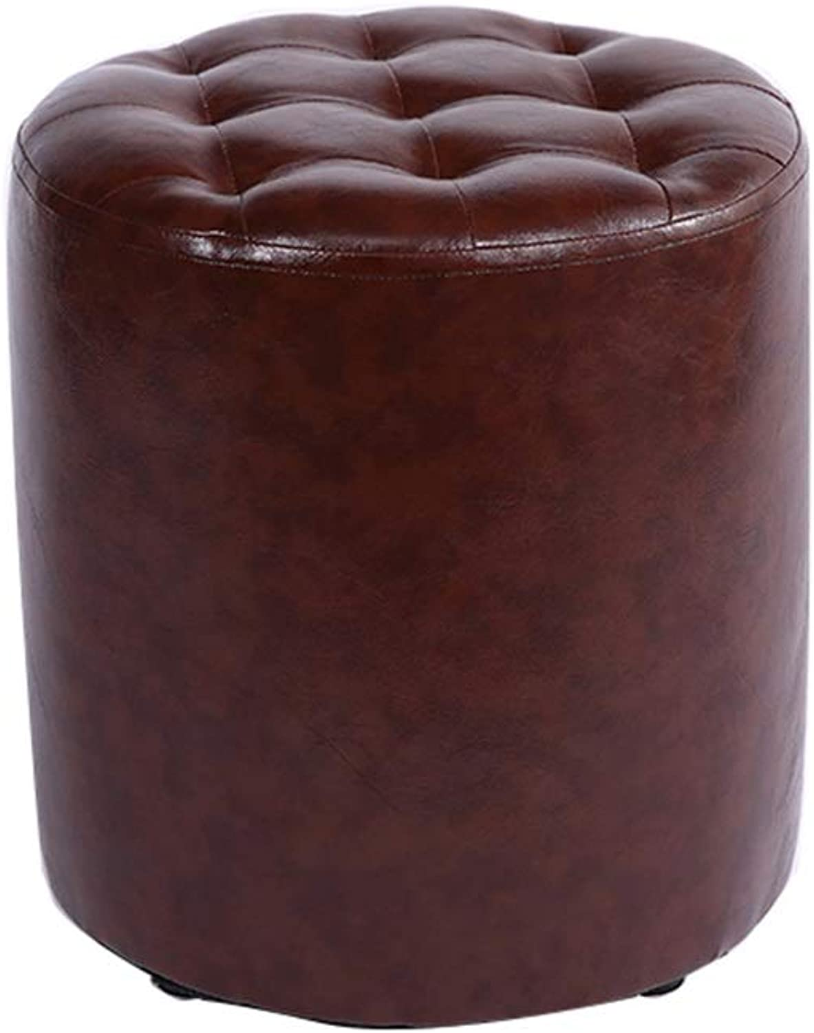 Small Round Stool Footstool Waterproof Pu Leather Stool Upholstered Pouffe Low Stool for Kids & Adults 100kg Weight Capacity Load(30×35cm) Brown
